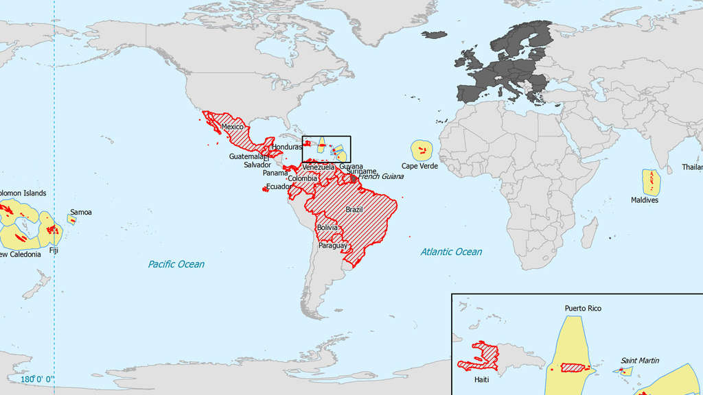 Countries with local Zika transmission