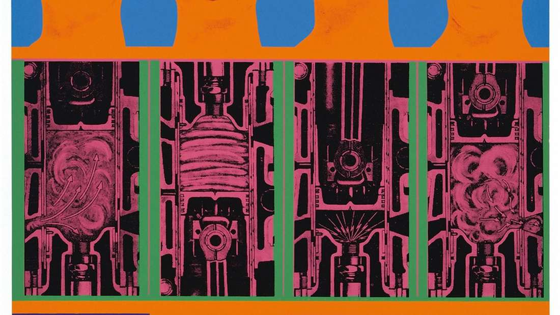 "Spielangebot für Betrachter: Eduardo Paolozzis ""Secret of the Internal Combustion Engine"" (1967) ist in Oberhausen zu sehen. Foto: Museum/ © Trustees of the Paolozzi Foundation"